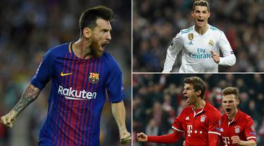 Berikut ini deretan pemain yang paling sering mencetak gol pada fase 16 besar Liga Champions sepanjang masa. Posisi teratas di tempati Lionel Messi yang unggul dua gol dari Cristiano Ronaldo. (Kolase foto-foto dari AFP)
