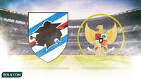 Logo Sampdoria dan Logo Garuda Timnas Indonesia (Bola.com/Adreanus Titus)