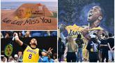 Kepergian legenda NBA, Kobe Bryant meninggalkan luka mendalam bagi masyarakat dunia internasional terutama para pecinta bola basket. Dunia berduka mengantar kepergian sang legenda dan putrinya yang wafat karena kecelakaan pesawat. (AFP)