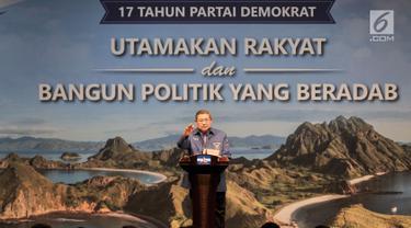 Ketua Umum Partai Demokrat Susilo Bambang Yudhoyono menyampaikan pidato politiknya dalam acara HUT Ke-17 Partai Demokrat di Jakarta, Senin (17/9). Acara itu digelar dengan tema Utamakan Rakyat dan Bangun Politik Yang Beradab. (Merdeka.com/Iqbal S Nugroho)