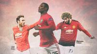 Manchester United - Odion Ighalo, Juan Mata dan Marouane Fellaini (Bola.com/Adreanus Titus)