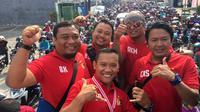 Manajer Persik, Benny Kurniawan (paling kiri), yakin Septian Satria Bagaskara bisa lolos seleksi Timnas Indonesia U-22. (Bola.com/Gatot Susetyo)