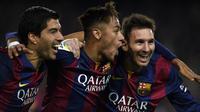 Berikut 5 trisula tertajam dalam sejarah sepak bola dunia. (Foto: AFP/Lluis Gene)