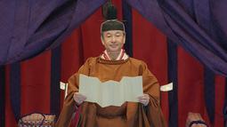 Kaisar Naruhito berpidato saat upacara penobatan di Istana Kekaisaran, Tokyo, Jepang, Selasa (22/10/2019). Naruhito resmi menjadi Kaisar Jepang setelah melalui ritual penobatan. (Pool via AP)
