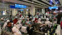 Jemaah haji Indonesia bersiap pulang ke Indonesia dari Bandara Prince Mohammed bin Abdulaziz, Madinah. Darmawan/MCH