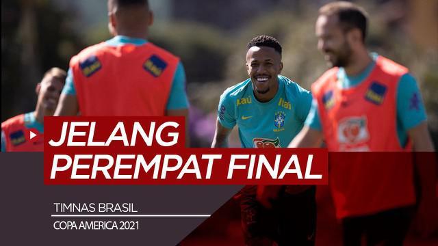 Berita video sesi latihan timnas Brasil jelang laga perempat final Copa America 2021 melawan Chile.