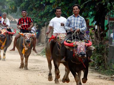 Sejumlah peserta menunggangi kerbau ketika mengikuti balapan dalam Festival Pchum Ben di provinsi Kandal, Kamboja, Rabu (20/9). Festival Pchum Ben termasuk festival keagamaan yang diadakan selama 15 hari. (AP Photo/Heng Sinith)