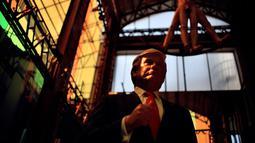 Patung lilin Presiden AS Donald Trump menjadi salah satu koleksi patung lilin tokoh-tokoh dunia yang dimiliki Museum Lilin di Mexico City, Selasa (31/1). (AFP PHOTO / Yuri CORTEZ)
