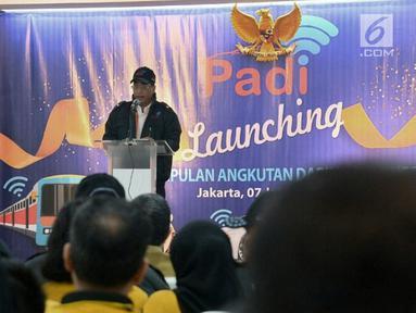 Menteri Perhubungan Budi Karya Sumadi memberikan sambutan serta pengarahan saat Launching Perkumpulan Angkutan Daring Indonesia (PADI) di Gedung Inkoppol, Jakarta, Senin (7/1). (Merdeka.com/Iqbal S. Nugroho)