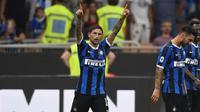 Gelandang Inter Milan, Stefano Sensi melakukan selebrasi usai mencetak gol ke gawang Udinese di Giuseppe Meazza. (Foto: Inter)