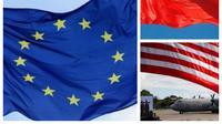 Bendera China, AS dan Uni Eropa.