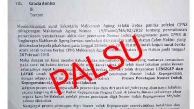Beredar Surat Palsu Penetapan Nip Cpns Catut Nama Bkn