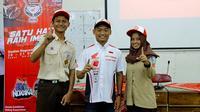 Pembalap Astra Motor Honda (AHM), Rheza Danica Ahrenz, membagikan pengalaman menjuarai Asia Road Racing Championship 2018 (AARC), di SMK Negeri 2 Jetis, Yogyakarta, Sabtu (20/10/2018).