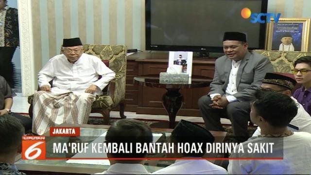 Ma'ruf Amin bantah hoaks yang menyatakan dirinya sakit stroke.