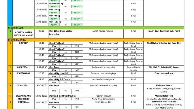 Jadwal pertandingan atlet Indonesia di SEA Games 2019, Selasa (10/12/2019)