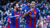 Lionel Messi dan Luis Suarez rayakan gol Barcelona ke gawang Las Palmas (Foto: Barcelona)