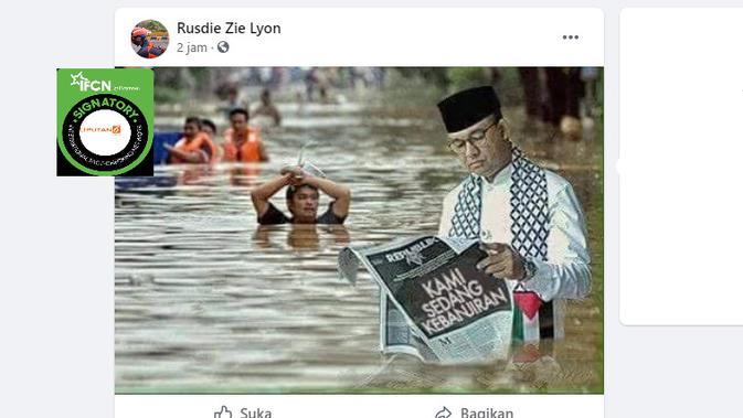 Cek Fakta Liputan6.com menelusuri foto Anies Baswedan membaca koran dalam banjir