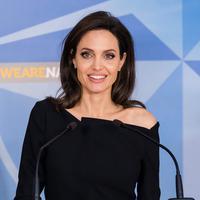 Aktris dan Duta UNHCR, Angelina Jolie saat memberi keterangan saat konferensi pers di Markas Besar NATO di Brussels, Belgia (31/1). (AFP Photo/Emmanuel Dunand)