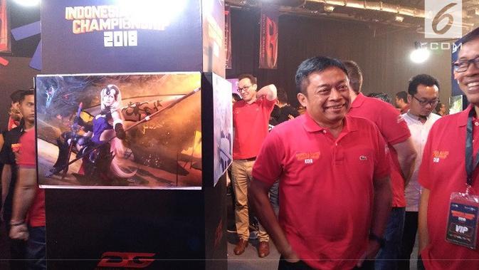 Dirut Telkomsel Ririek Adriansyah dalam gelaran Telkomsel Indonesia Games Championship 2018. Liputan6.com/Tommy Kurnia#source%3Dgooglier%2Ecom#https%3A%2F%2Fgooglier%2Ecom%2Fpage%2F%2F10000
