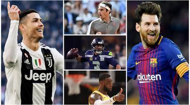 Bintang Barcelona, Lionel Messi, menduduki posisi pertama sebagai atlet terkaya di dunia versi majalah Forbes 2019. Messi tercatat punya kekayaan sebesar 127 juta dolar AS. (Foto Kolase AP dan AFP)