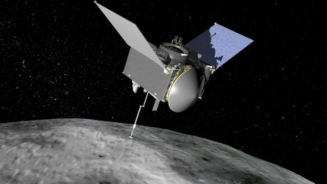 Ilustrasi OSIRIS-REx saat mengambil sampel di permukaan asteroid Bennu