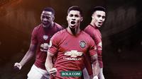 Trio Penyerang Manchester United: Anthony Martial, Marcus Rashoford dan Mason Greenwood. (Bola.com/Dody Iryawan)