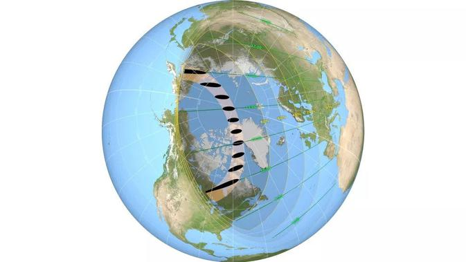 Jalur perlintasan gerhana matahari cincin Juni 2021 (kredit: NASA)