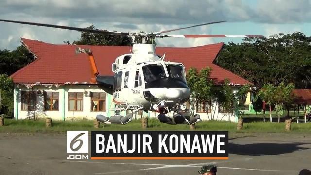Puluhan korban banjir di Kabupaten Konawe Utara Provinsi Sulawesi Tenggara dievakuasi menggunakan Helikopter. Evakuasi lewat udara dilakukan karena jalan darat terisolasi oleh banjir. Korban banjir dievakuasi ke RSUD Konawe