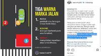 Fungsi Tiga Warna Marka Jalan Ini Wajib Diketahui Pengendara (Foto: Instagram @kemenhub151)