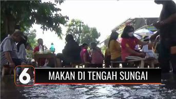 VIDEO: Nikmatnya Sensasi Makan Sambil Main Air di Tengah Sungai Guyangan Boyolali