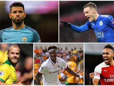 Tiga gol yang dicetak Jamie Vardy saat melawan Southampton membuatnya melesat ke posisi pertama sebagai pencetak gol terbanyak Premier League 2019. Berikut ini para top scorer sementara di Liga Inggris. (Foto Kolase AP, AFP dan EPA)