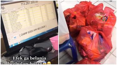 Lama Tak Belanja Kebutuhan Bulanan, Total Belanjaan Wanita Ini Bikin Tak Percaya
