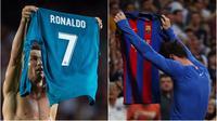Bintang Real Madrid, Cristiano Ronaldo, menyindir bintang Barcelona, Lionel Messi, dengan meniru gaya selebrasi sang rival usai mencetak gol pada leg pertama Piala Super Spanyol 2017 di Camp Nou, Minggu (13/8/2017). (Kolase foto-foto dari AFP)