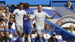 Pemain Everton, Wayne Rooney hingga pekan ketiga Premier League 2017/2018 telah mengoleksi dua gol, yakni ke gawang Stoke City dan Manchester City. (AP/Alastair Grant)