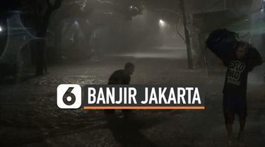 Hujan deras terus mengguyur kawasan Jakarta dan sekitarnya hingga picu banjir. Sabtu (20/2) dini hari akses jalan di daerah kemang terputus akibat banjir setinggi 1 meter.
