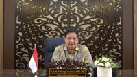 Menteri Koordinator Bidang Perekonomian Airlangga Hartarto dalam Webinar Sosialisasi Budaya Sensor Mandiri, secara virtual, Rabu (22/9/2021).