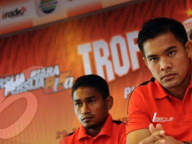 Penjaga gawang Persija Jakarta Andritany menegaskan bahwa dirinya sangat berambisi membuat Persija mencetak hattrick menjuarai Trofeo Cup (Liputan6.com/Helmi Fithriansyah)