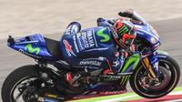 Pebalap Movistar Yamaha, Maverick Vinales, belum sepenuhnya merasakan manfaat dari sasis baru yang digunakan motornya. (Twitter/@MotoGP)