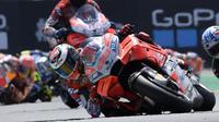 Aksi pembalap Ducati, Jorge Lorenzo pada MotoGP Prancis 2018 di Sirkuit Le Mans. (Twitter/Ducati Motor)