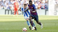 Ousmane Dembele menyumbang satu gol saat Barcelona mengalahkan Real Sociedad 2-1 dalam lanjutan Liga Spanyol di Estadio Municipal de Anoeta, Sabtu (15/9/2018) malam WIB. (twitter.com/FCBarcelona)