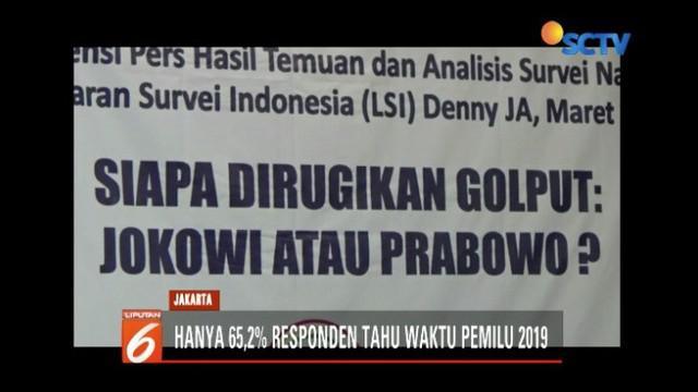 Berdasarkan hasil survei LSI Denny JA, pemilih golput diprediksi meningkat pada Pemilu 2019.