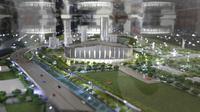 Penampilan maket dari pembangunan stadion baru bernama Jakarta International Stadium di Jakarta, Kamis (14/3). Stadion berkapasitas 82.000 kursi tersebut ditargetkan selesai pada tahun 2021. (Bola.com/M. Iqbal Ichsan)
