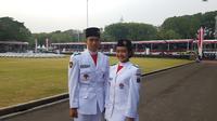 Paskibraka 2017 perwakilan DKI Jakarta Evan William dan Ratu Sarah Nadia Lubis. (Liputan6.com/Aditya Eka Prawira)