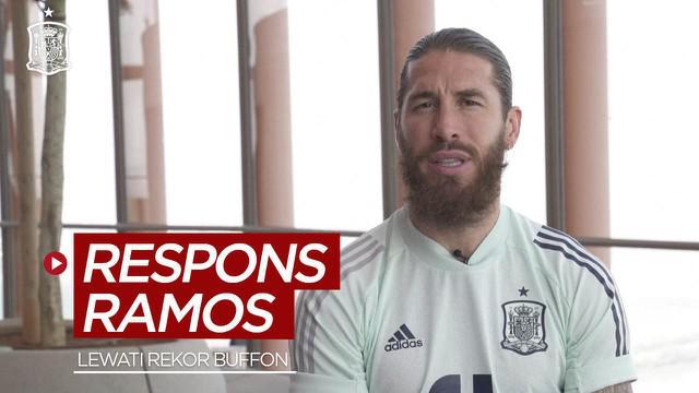 Berita video respns bek Timnas Spanyol, Sergio Ramos, setelah melewati rekor seorang legenda Gianluigi Buffon.