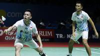 Pasangan ganda putra Indonesia, Fajar Alfian/ Muhammad Rian Ardianto pada Indonesia Open 2019 di Istora Senayan, Jakarta, Rabu (17/7/2019). (Bola.com/Peksi Cahyo)