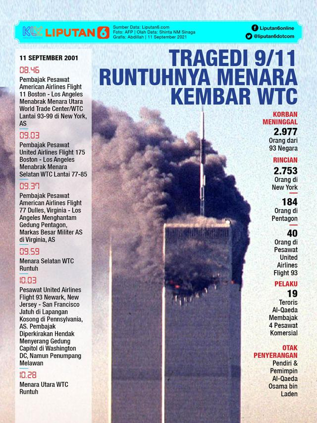 Infografis Tragedi 9/11 Runtuhnya Menara Kembar WTC (Liputan6.com/Abdillah)
