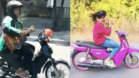 Aksi multitasking pengendara motor (Sumber: Instagram/receh.id/txtdarigajelas)