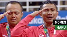 """Berita video momen mengharukan saat tim sepak takraw putra nomor quadrant berhasil menyabet medali emas Asian Games 2018 dan menyanyikan lagu """"Indonesia Raya""""."""