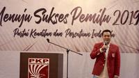 """Ketua Umum PKPI Diaz Hendropriyono memberikan pidato politik pada Muspimnas PKPI yang bertemakan """"Menuju Sukses Pemilu 2019"""" di Jakarta, Rabu (5/12/2018)."""