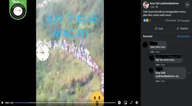 Gambar Tangkapan Layar Video yang Diklaim Jalan Tikus Dipenuhi Pemudik (sumber: Facebook)